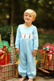Knit Nutcracker Smocked Light Blue Long Romper