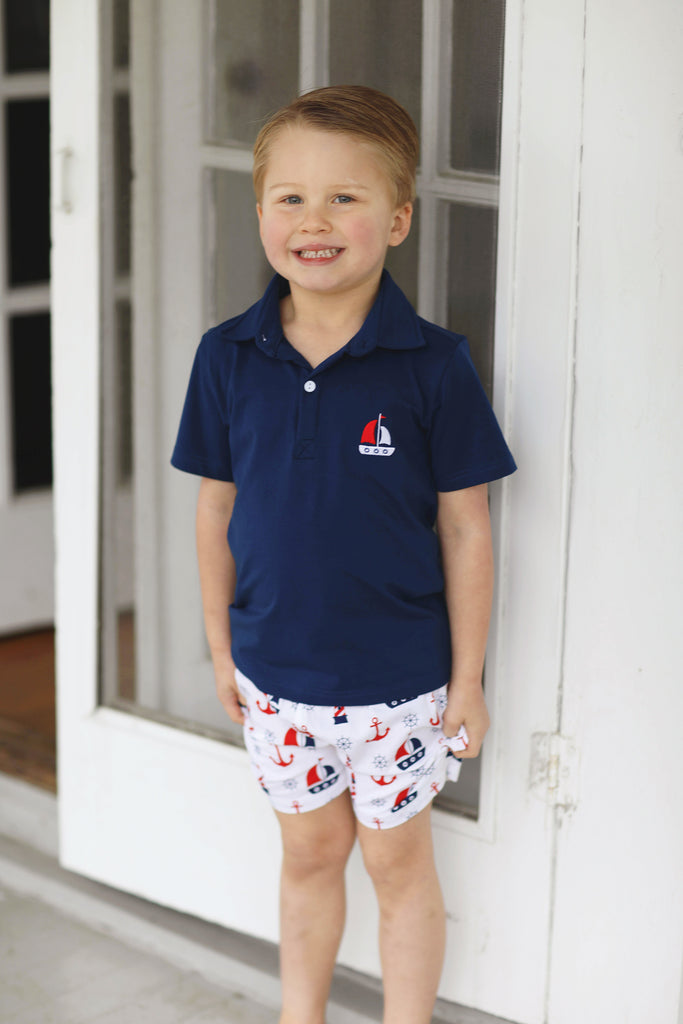 Sailboat Embroidered Collared Short Set