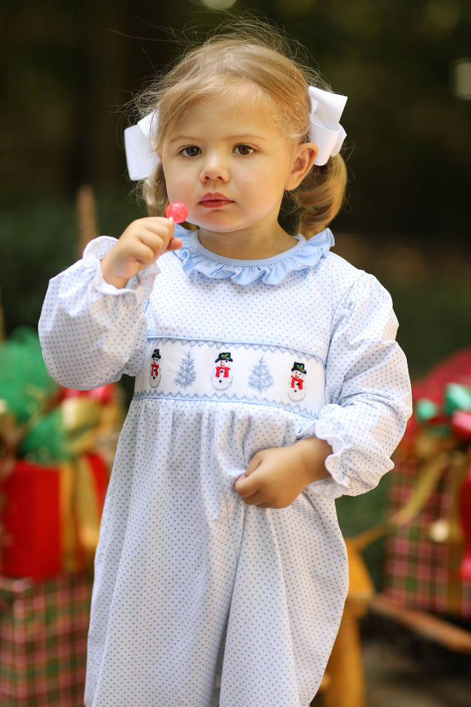 Knit Snowman Smocked Blue Bitty Dot Ruffle Trim Long Romper