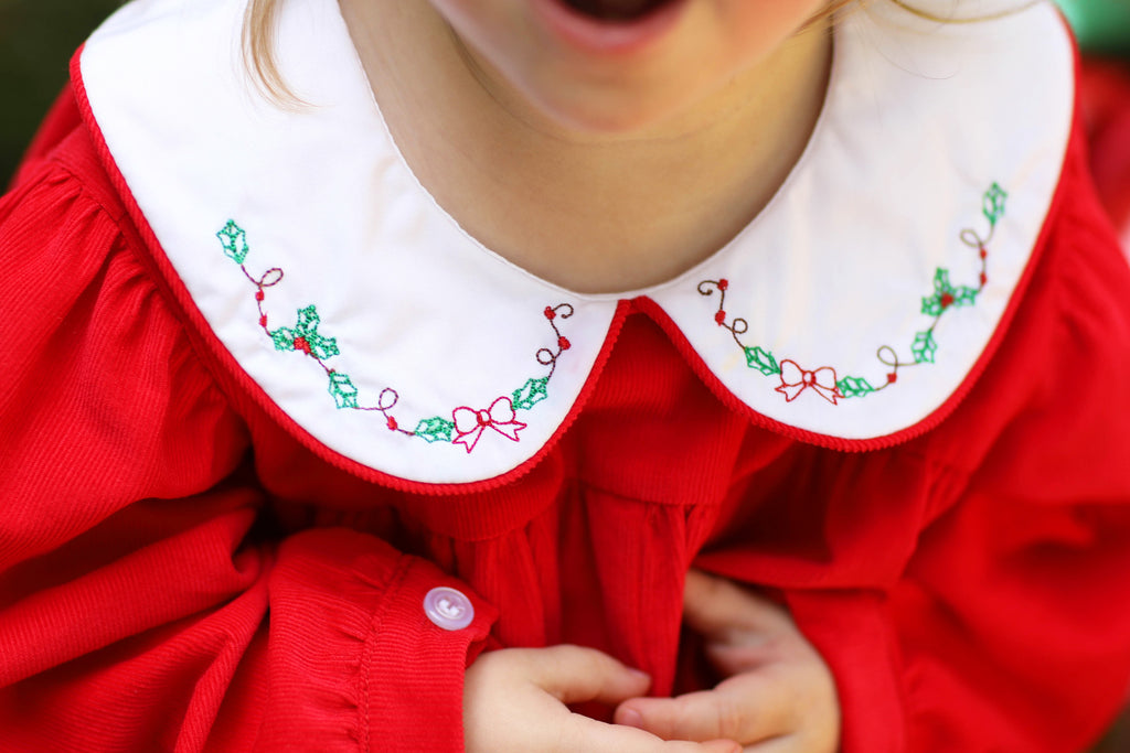 Red Corduroy Holly Embroidered Collar Long Girl Bubble