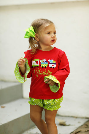 Christmas Train Applique Red Ruffle Shirt Lime Green Dot Diaper Set