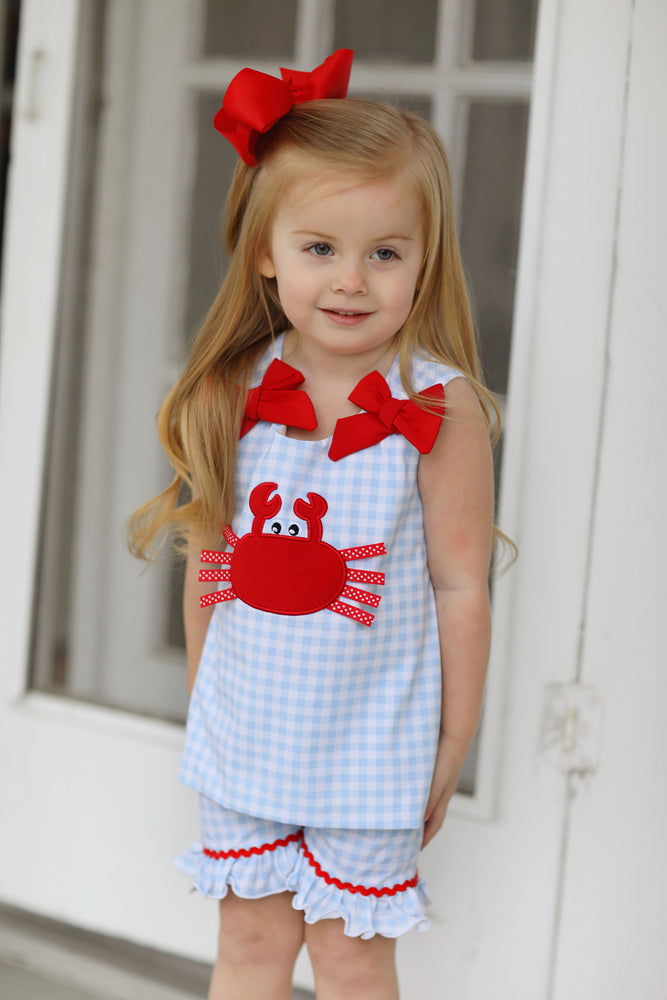 Knit Crab Applique Bow Ruffle Short Set