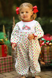Christmas Truck Embroidered Red & Green Dot Long Romper