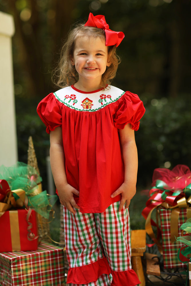 Gingerbread House Smocked Knit Red Bishop Top Red and Green Plaid Ruffle Pant Set