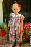 Gingerbread House Smocked Red and Green Plaid Long Bishop Bubble