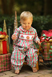Gingerbread House Smocked Red and Green Plaid Collared Long Bubble