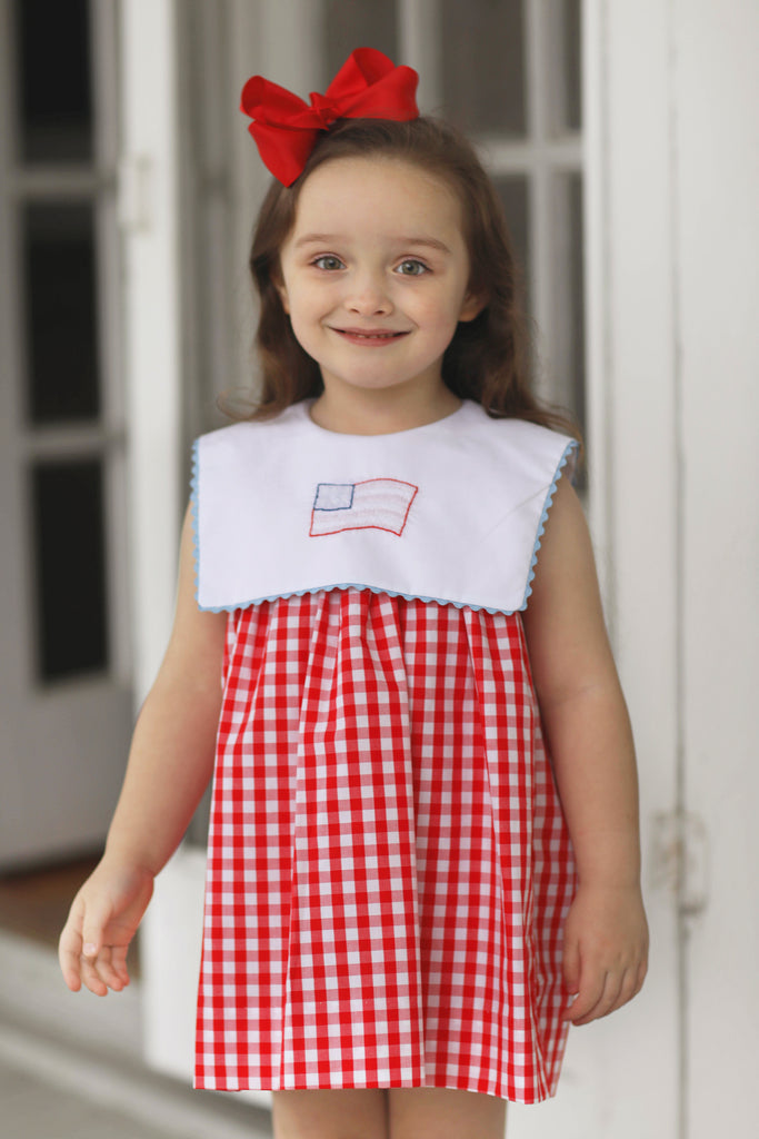 Flag Shadow Embroidered Dress