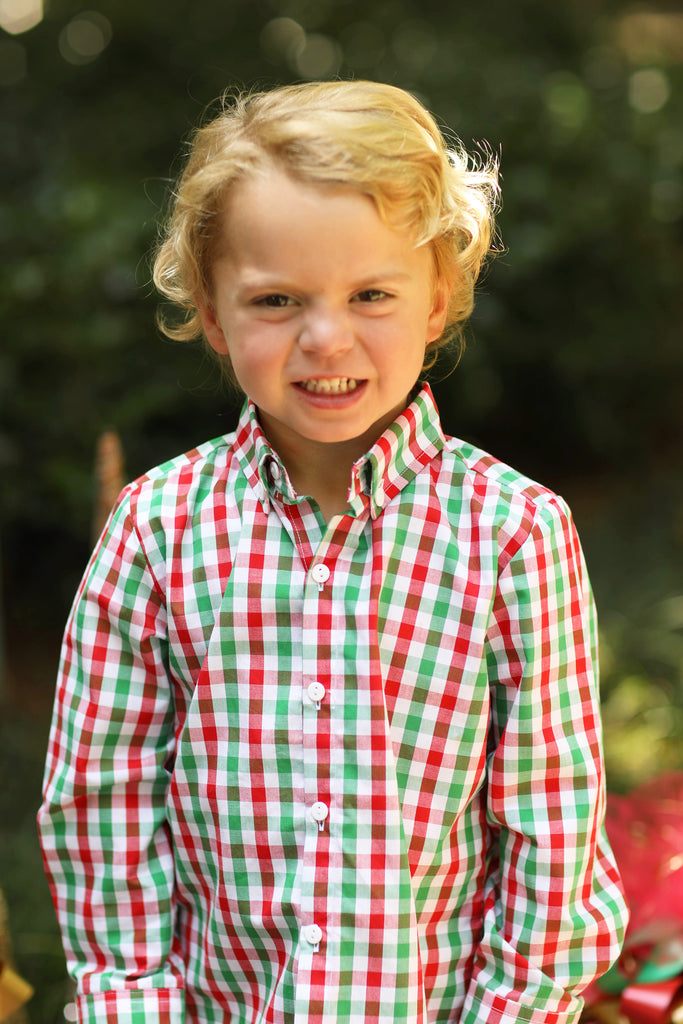 Red and Green Plaid Button Down Collared Shirt