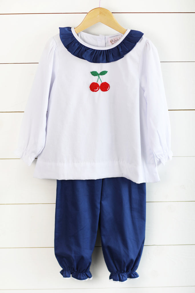 Cherry French Knot Embroidered Navy Pique Bubble Pant Set