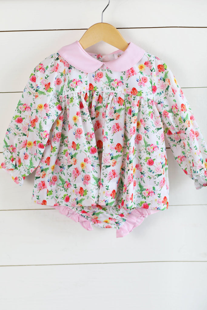 Pink Floral Long Sleeve Collared Diaper Set