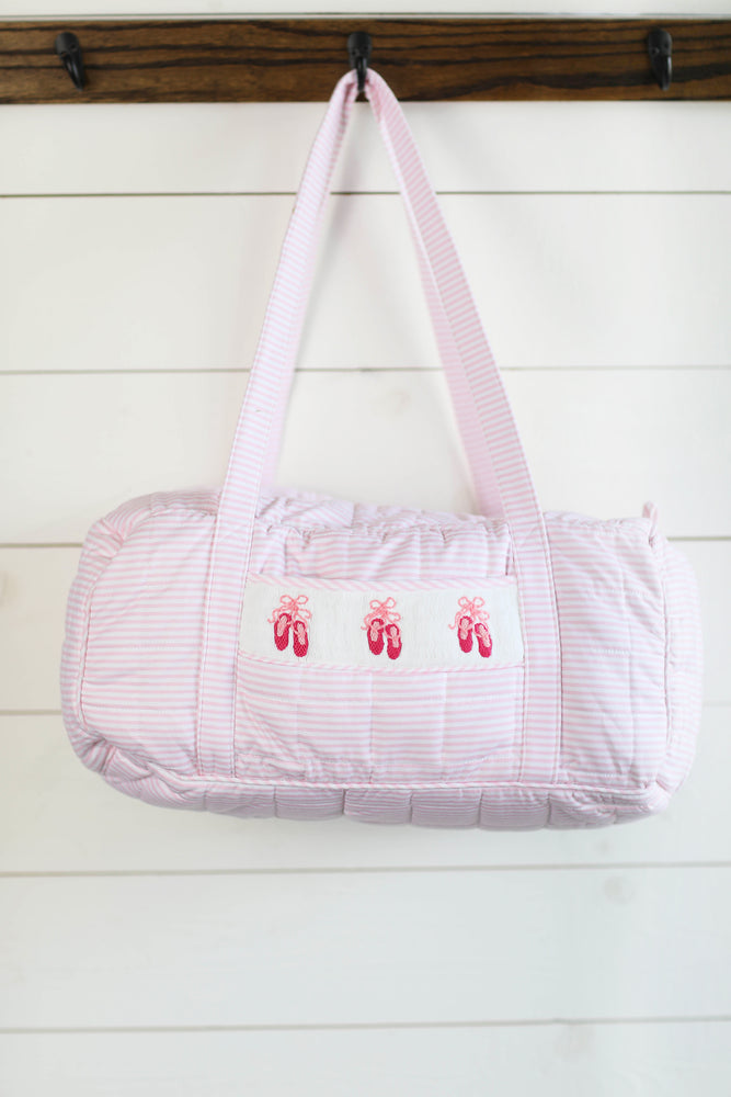 Ballerina Slipper Smocked Pink Mini Stripe Knit Duffel Bag Luggage