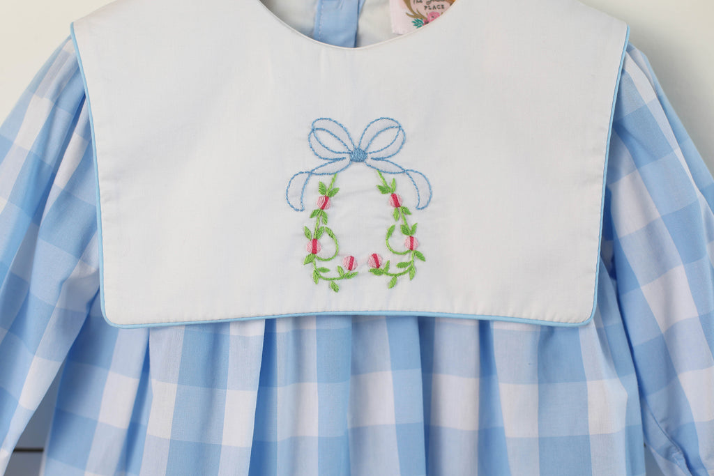 Floral Bow Shadow Embroidered Bib Blue Buffalo Check Dress