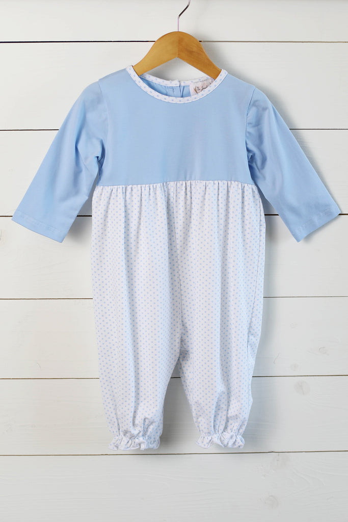 Knit Blue Dot Girl Long Bubble