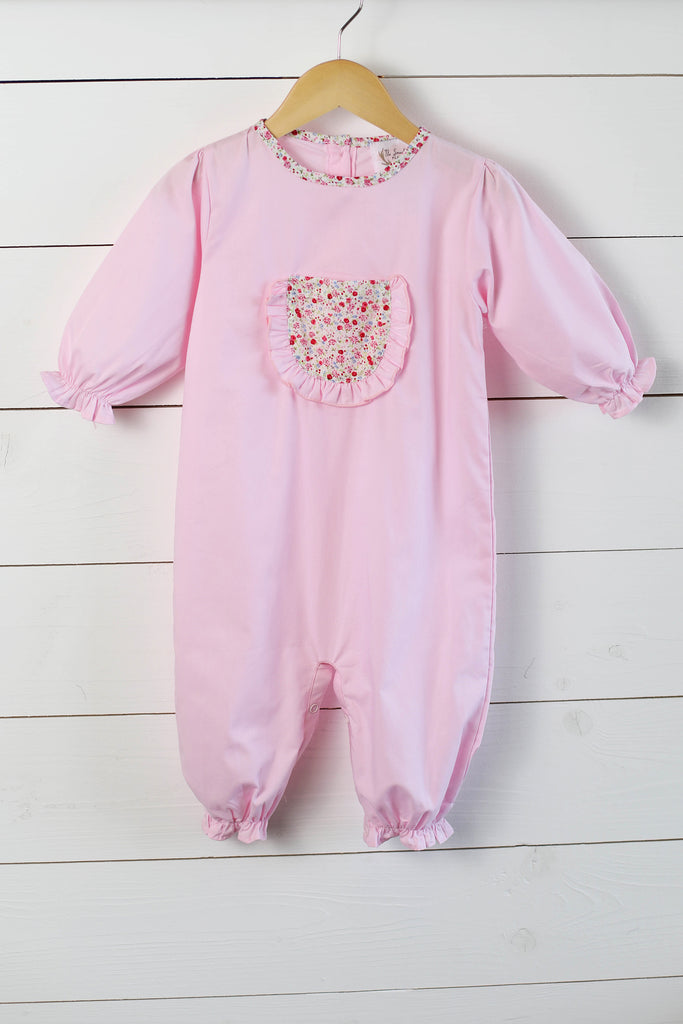 Pink Romper with Floral Pocket & Trim