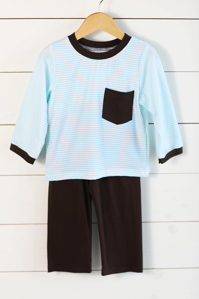 Knit Aqua Stripe Brown Trim Pant Set