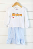 Three Little Pumpkins Applique White Shirt Blue Gingham Ruffle Pant Set