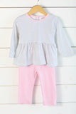 Knit Navy Dot Pink Trim Pant Set