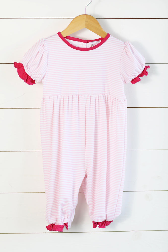 Load image into Gallery viewer, Knit Pink Stripe Hot Pink Trim Long Romper