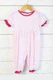 Knit Pink Stripe Hot Pink Trim Long Romper
