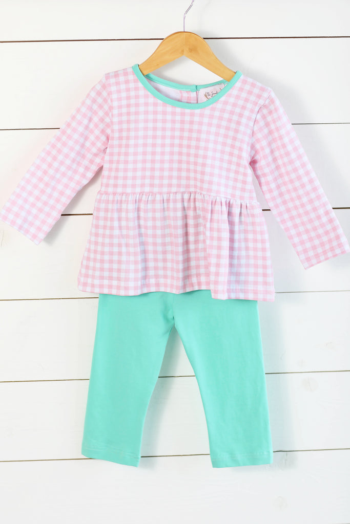 Knit Pink Gingham Mint Trim Pant Set