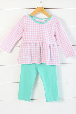 Alligator Embroidered Green Shirt Blue Gingham Pant Set