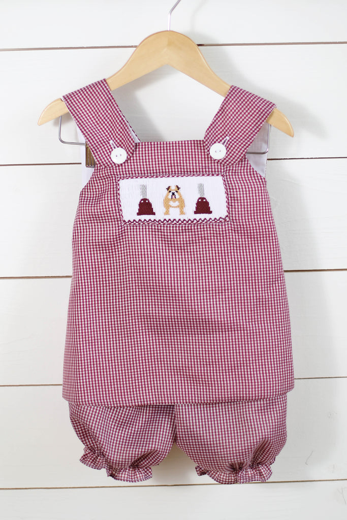 Bulldog Cowbell Smocked Swing Top Maroon Gingham Bubble Short Set