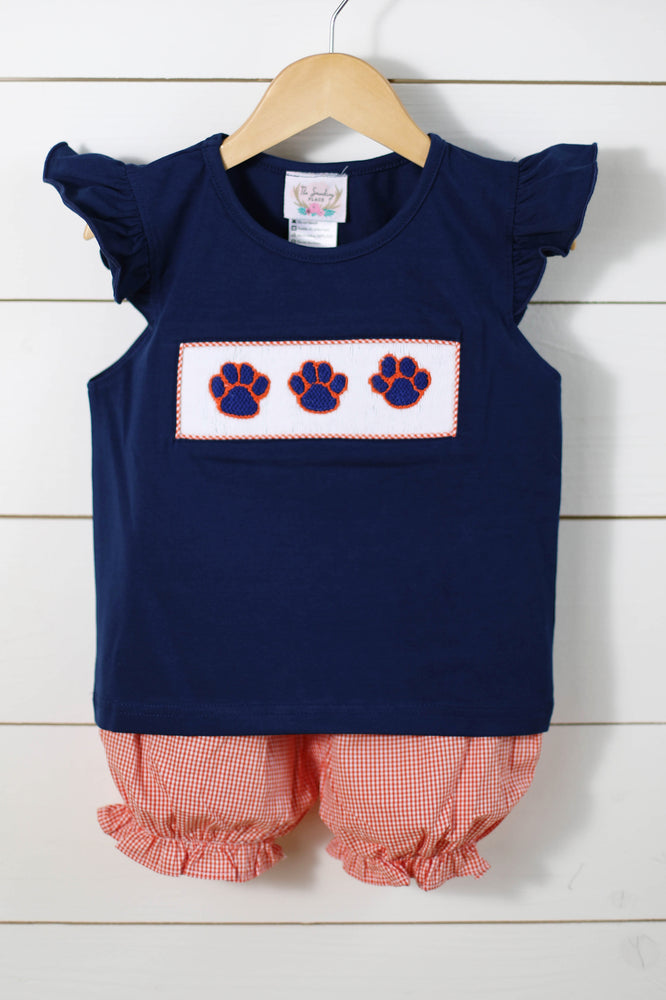 Load image into Gallery viewer, Paw Print Smocked Angel Wing Shirt Orange Gingham Bubble Short Set