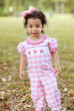 Valentine Smocked Pink Check Long Bubble with Picot Trim