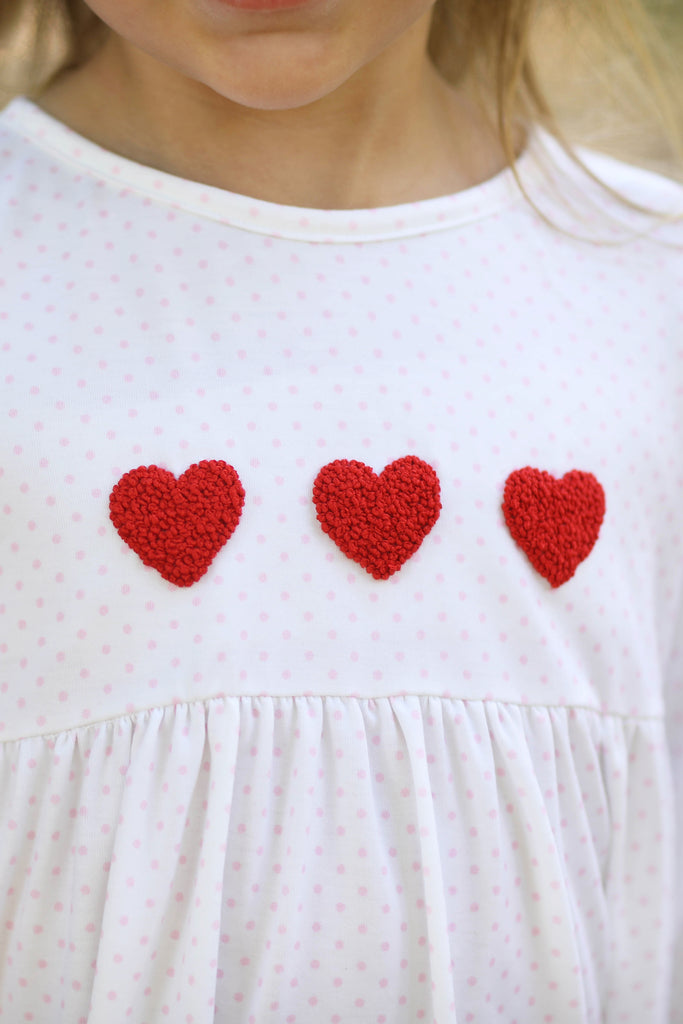 Knit Heart French Knot Embroidery Pink Bitty Dot Dress