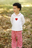 Knit Heart French Knot Embroidery Top Red Gingham Bubble Pant Set