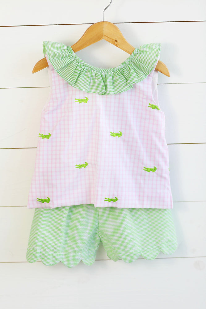 Alligator Embroidered Pink Windowpane Ruffle Bow Top Green Gingham Scalloped Short Set