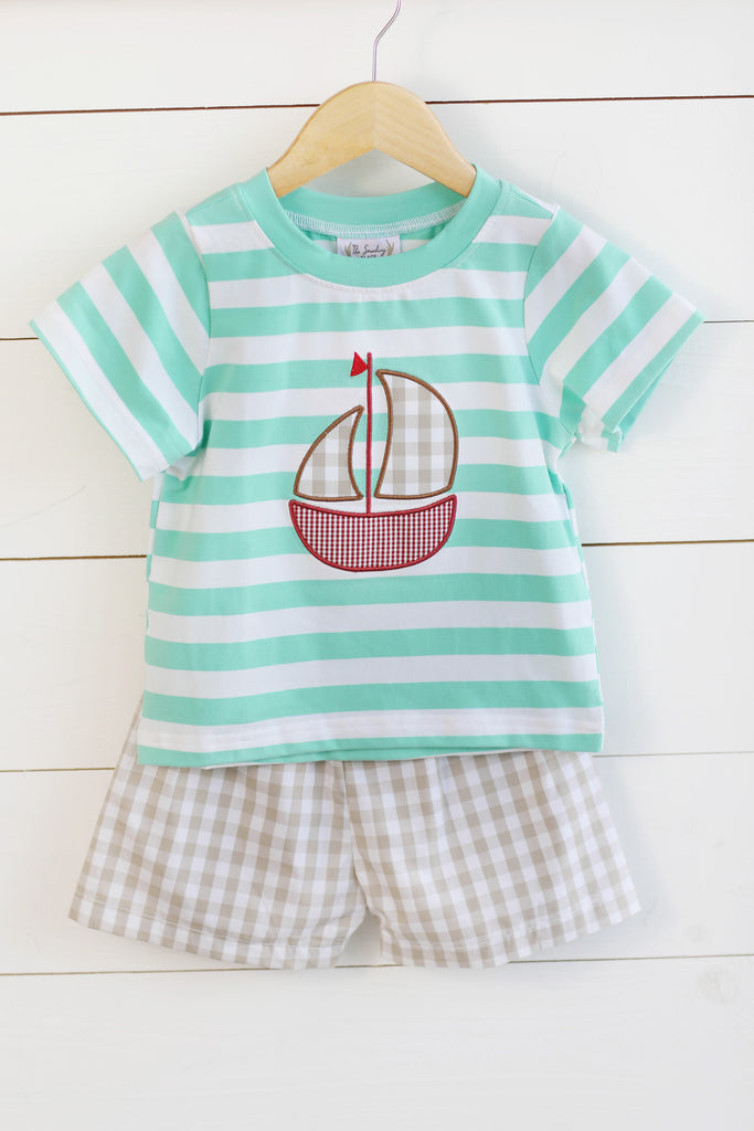 Sailboat Applique Mint Stripe Shirt Tan Gingham Short Set