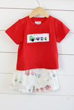 Train Smocked Train Print Short Set