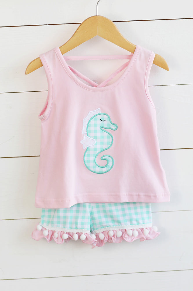 Seahorse Applique Pink Top Mint Gingham Ruffle Shorts with Pom Pom Trim