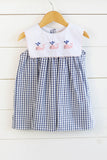 Whale Embroidered Bib Navy Windowpane Dress with Pink Trim