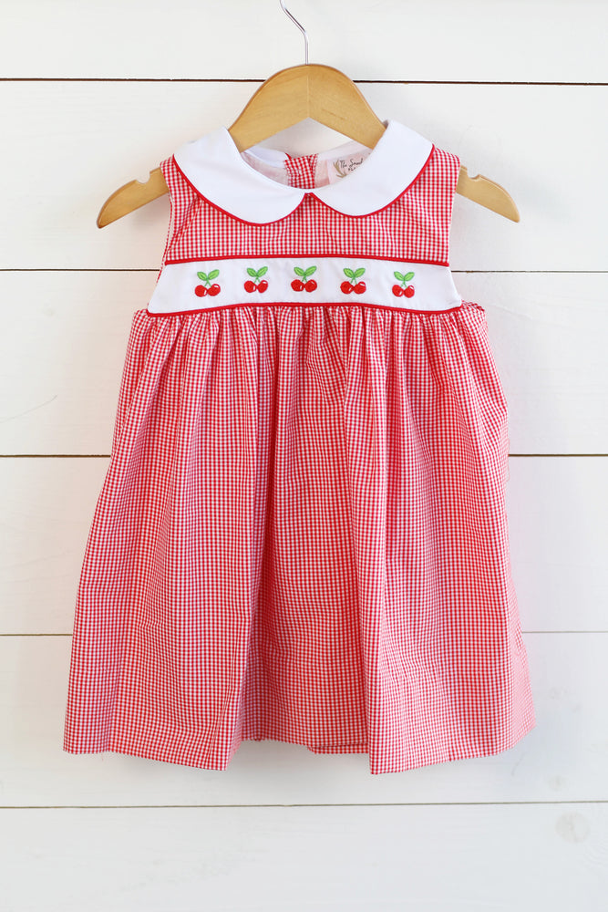 Cherry Embroidered Red Gingham Collared Dress