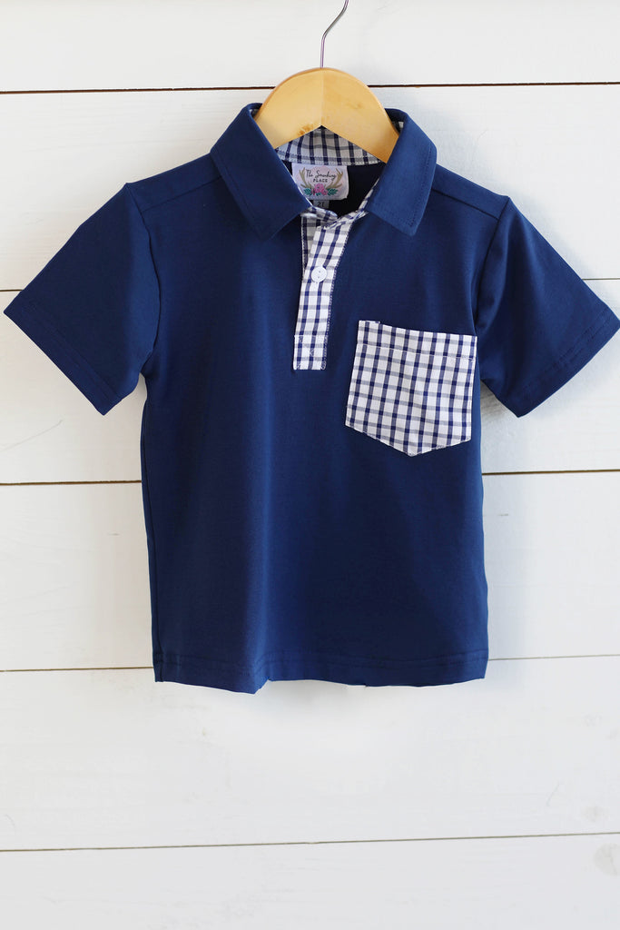 Knit Navy Collared Shirt with Navy Windowpane Pocket