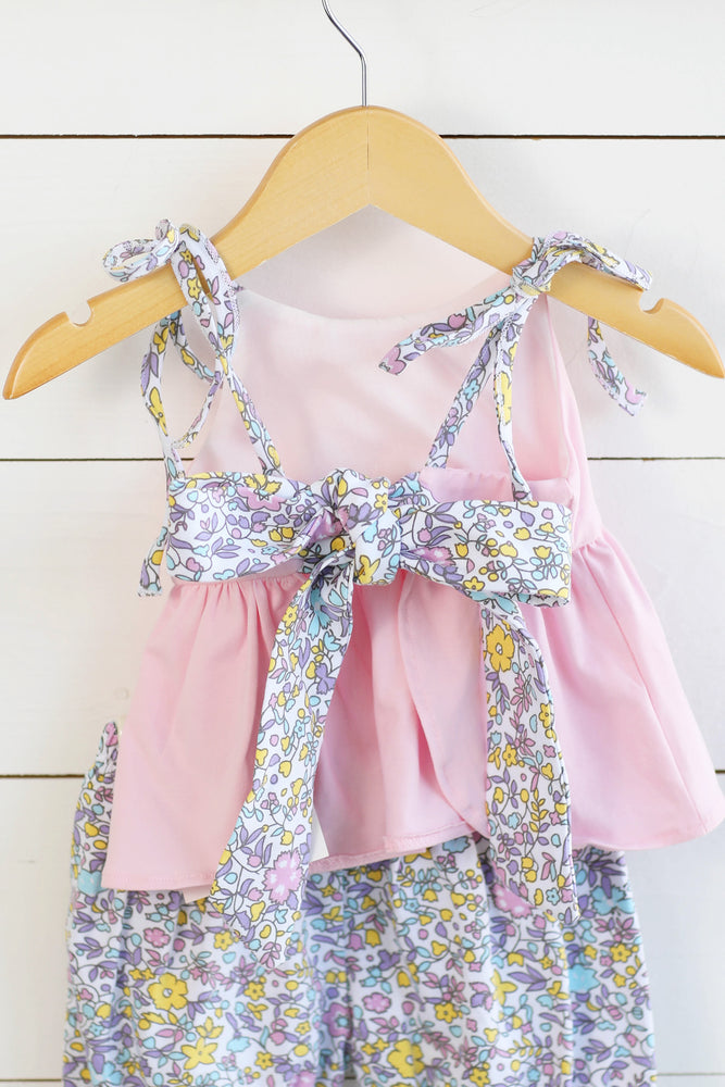 Knit Pink Tie Top Floral Bubble Short Set