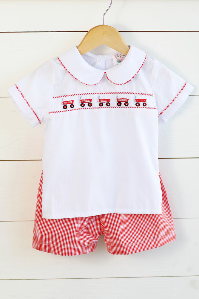 Little Red Wagon Embroidered Red Gingham Short Set