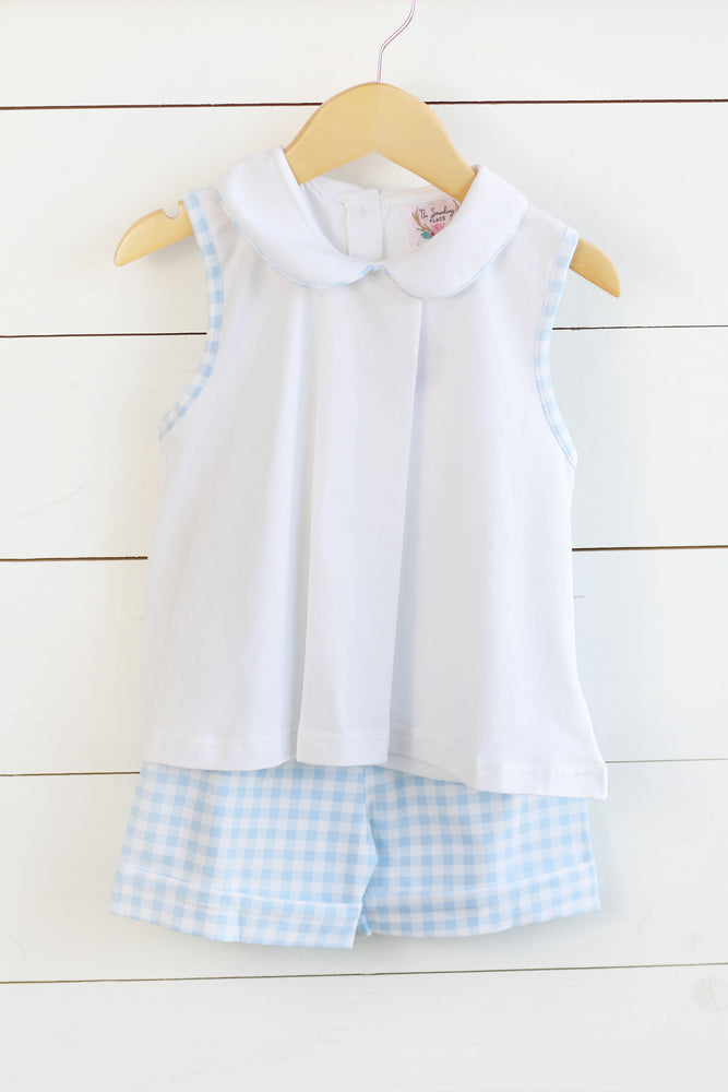 Knit White Collared Shirt Blue Gingham Cuffed Short Set