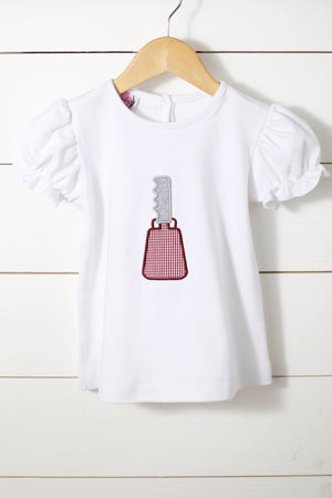 Cowbell Applique White Knit Girl Shirt