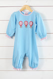 Knit Hot Air Balloon Blue Girls Long Romper