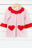 Knit Red Dot Valentine Heart Pocket Dress