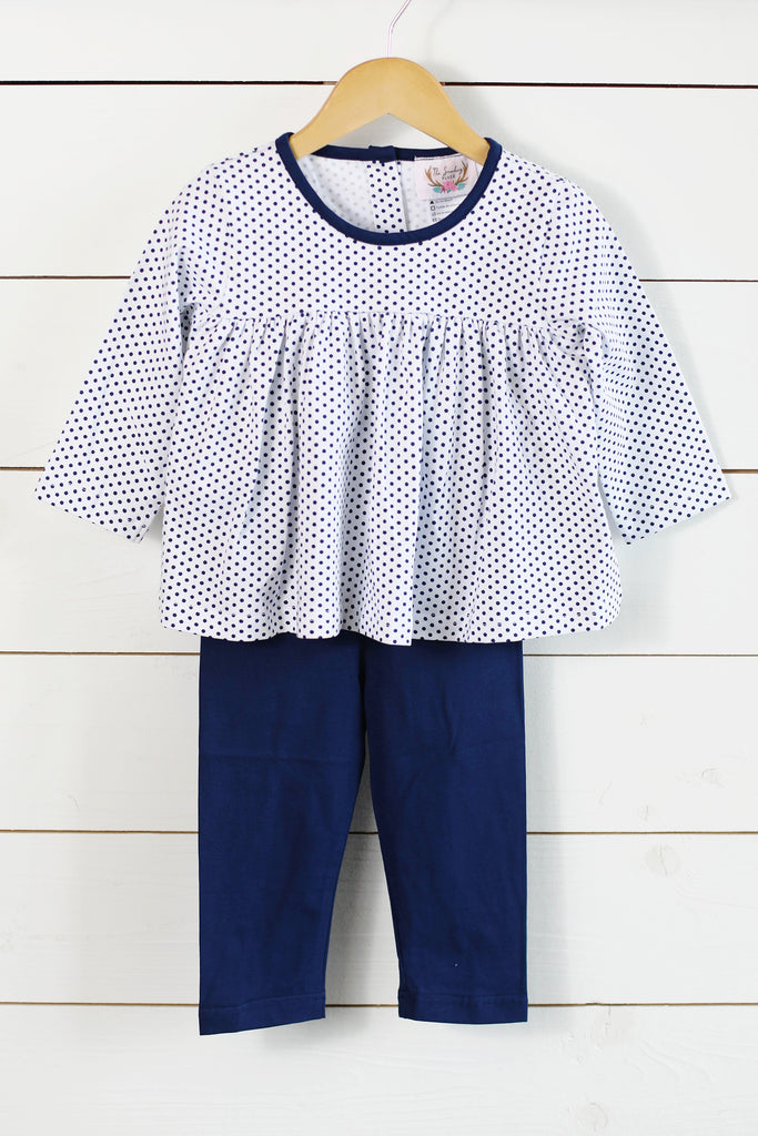 Knit Navy Dot Shirt Navy Pant Set