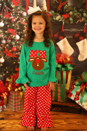 Rudolph Applique Green Shirt Red Dot Ruffle Pant Set
