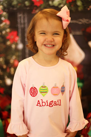 Knit Ornament Applique Pink Shirt
