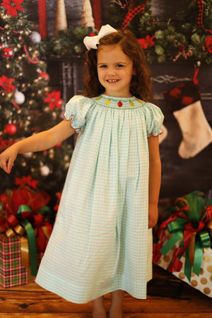 Christmas Lights Smocked Mint Gingham Bishop Dress