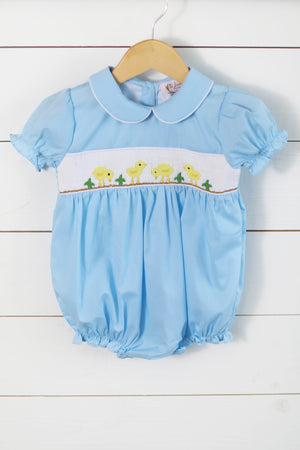 Yellow Duck Smocked Blue Girl Bubble