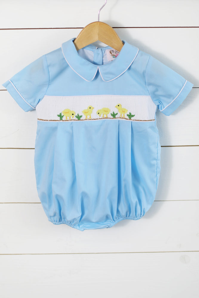 Yellow Duck Smocked Blue Boy Bubble