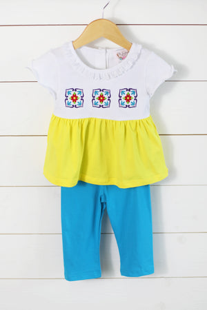 Cinco De Mayo Embroidered Knit Yellow Top Blue Pant Set